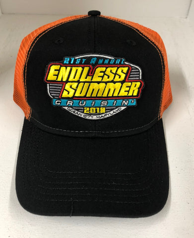 SALE - 2018 Cruisin Endless Summer official car event trucker hat black and orange OC MD