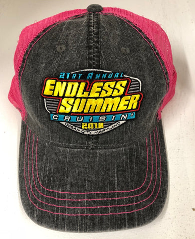 2018 Cruisin Endless Summer official car show event trucker hat gray and pink OC MD