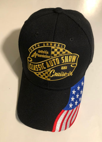 38th Annual Classic Auto Show event hat black with American flag