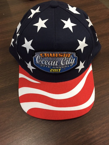 2017 Cruisin official carshow event hat american flag red white blue Ocean City MD
