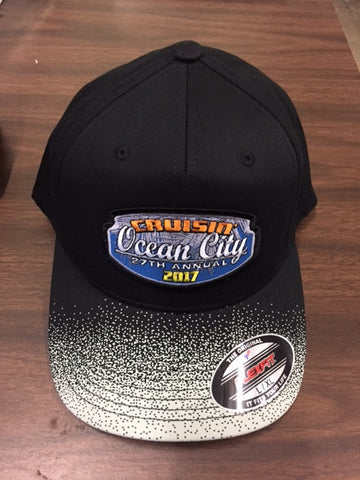 2017 Cruisin official carshow event fitted hat black with silver LG/XL Ocean City MD
