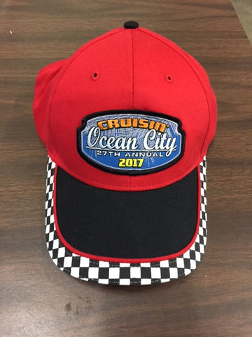 2017 Cruisin official carshow event hat red with black checker Ocean City MD