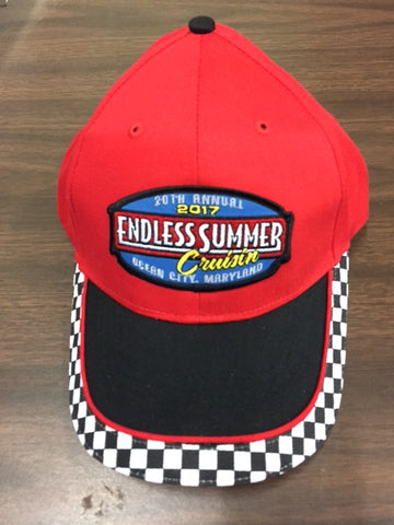 2017 Cruisin Endless Summer official carshow event hat red with checkered bill Ocean City MD