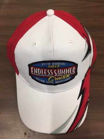 2017 Cruisin Endless Summer official car show event hat red and white Ocean City MD