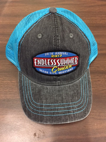 2017 Cruisin Endless Summer official car show event trucker hat gray and blue Ocean City MD