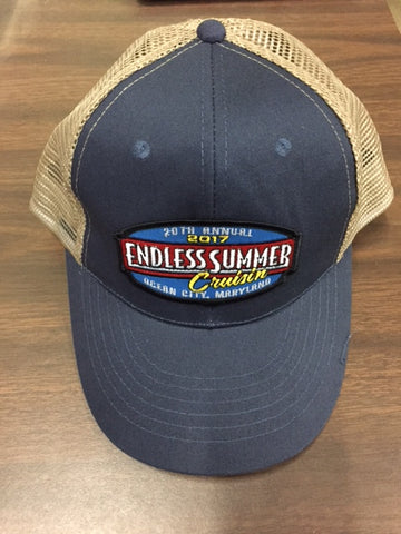 2017 Cruisin Endless Summer official car show event trucker hat navy blue and tan Ocean City MD