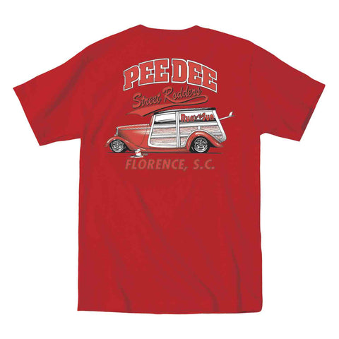 Pee Dee Street Rodders official car club red t-shirt