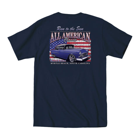 2019 Run to the Sun official car show event pocket t-shirt navy Myrtle Beach, SC alt