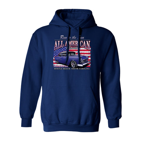 2019 Run to the Sun official car show hooded sweatshirt navy Myrtle Beach, SC alt