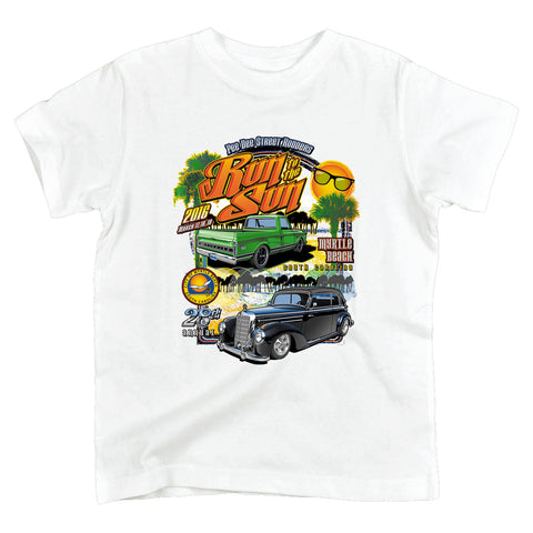 2016 Run to the Sun official classic car show event youth t-shirt white Myrtle Beach, SC