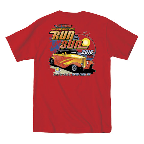 2016 Run to the Sun official car show event t-shirt red Myrtle Beach South Carolina