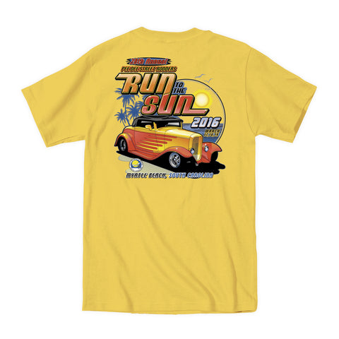 2016 Run to the Sun official car show event t-shirt yellow Myrtle Beach South Carolina