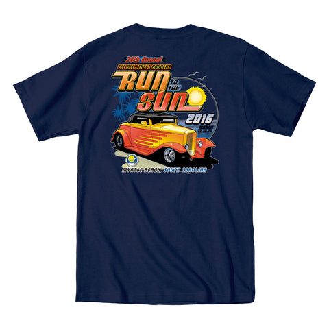 2016 Run to the Sun official car show event t-shirt navy pocket Myrtle Beach SC