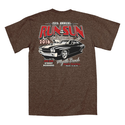 2016 Run to the Sun official car show event t-shirt Heather Brown Myrtle Beach SC