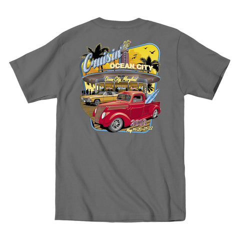2016 Cruisin official classic car show event t-shirt charcoal Ocean City Maryland