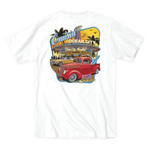 2016 Cruisin official classic car show event t-shirt white Ocean City Maryland