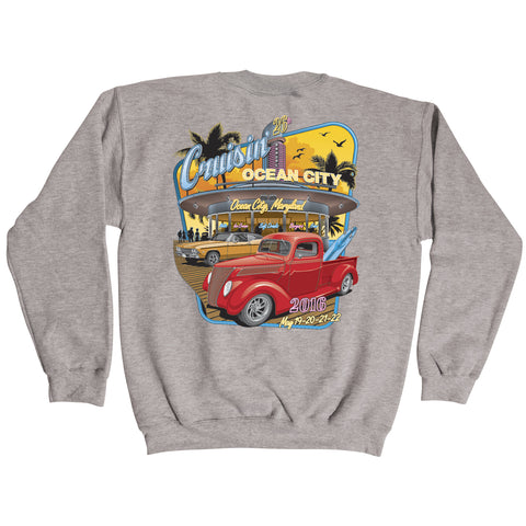 2016 Cruisin official classic car show event gray crew sweatshirt Ocean City MD