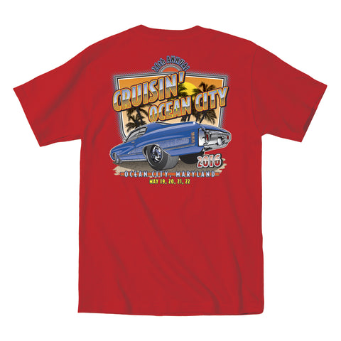 2016 Cruisin official classic car show event t-shirt red Ocean City Maryland