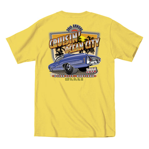 2016 Cruisin official classic car show event t-shirt yellow Ocean City Maryland