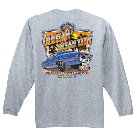 2016 Cruisin official classic car show event t-shirt gray long sleeve Ocean City MD