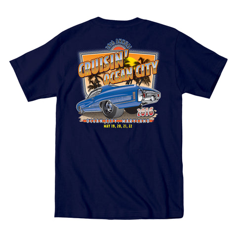 2016 Cruisin official classic car show event t-shirt navy pocket Ocean City Maryland