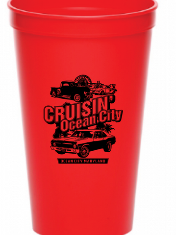 2019 Cruisin Ocean City official car show red drink plastic cup