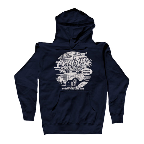 2019 Cruisin Endless Summer official car show hoodie Navy Ocean City MD