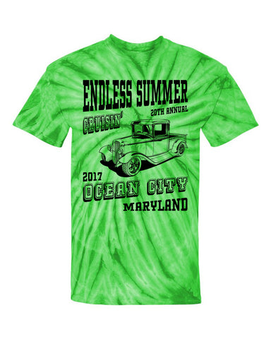 SALE - 2017 Cruisin Endless Summer official car show event t-shirt lime tie dye Ocean City MD