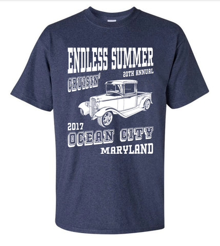 SALE - 2017 Cruisin Endless Summer official car show event t-shirt heather navy Ocean City MD