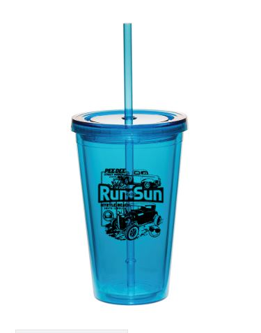 2019 Run to The Sun official car show blue plastic tumbler cup Myrtle Beach SC