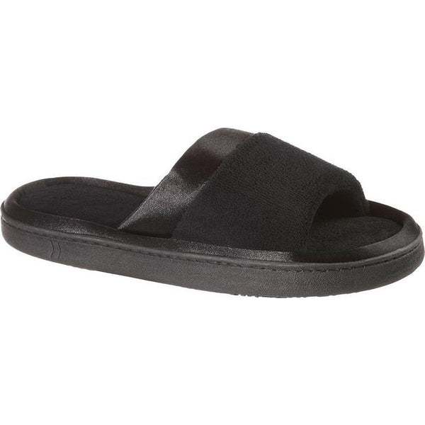 ISOTONER - Microterry Satin Slide Slippers-Black