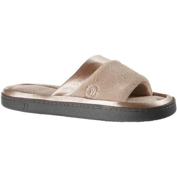 ISOTONER - Microterry Satin Slide Slippers-Stone