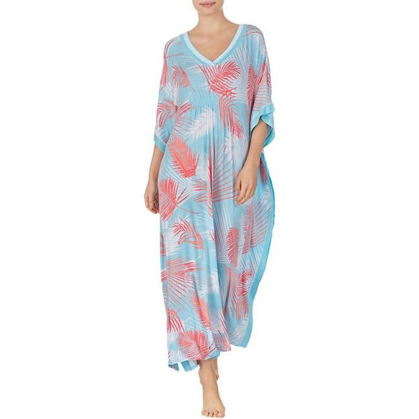 ELLEN TRACY - Printed Long Caftan - Aqua Leaf