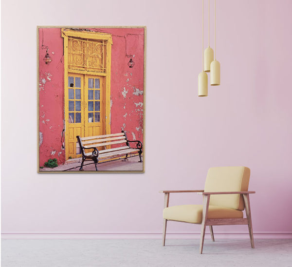 Framed Wrapped Canvas Photoreal Print - Yellow Door