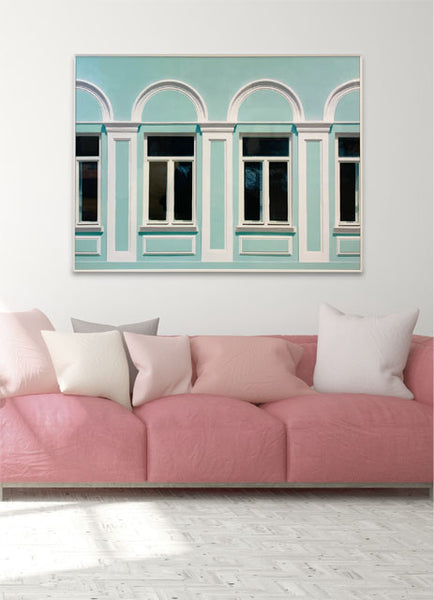 Framed Wrapped Canvas Photoreal Print - Mint wall & Windows