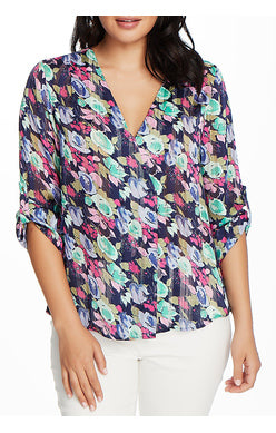 CHAUS - 3/4 Sleeve Roll Tab V-Neck Floral Blouse - Navy