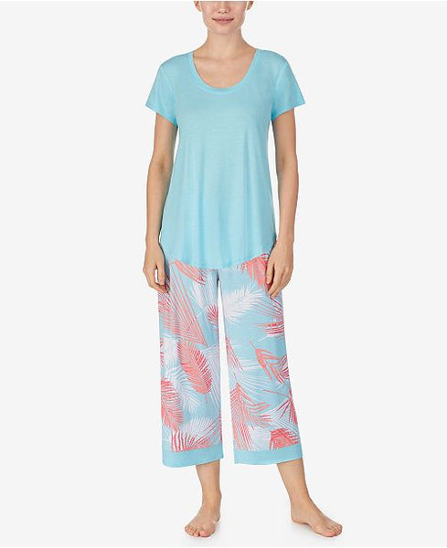 ELLEN TRACY - 2PC PJ Set - Aqua Leaf
