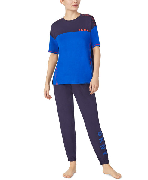 DKNY - Colour Blocked Sleep Tee and Cropped Pants set - Blue & Navy