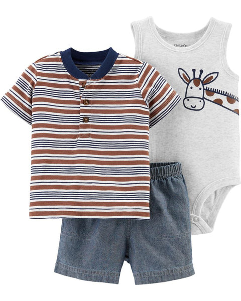 CARTER'S - 3 Piece Little Giraffe Short Set