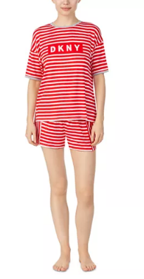 DKNY - Striped T-Shirt and Boxer set - Cherry Red and White