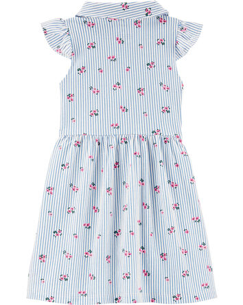CARTER'S - Striped Floral Button Front Shirt Dress, Toddler Girl