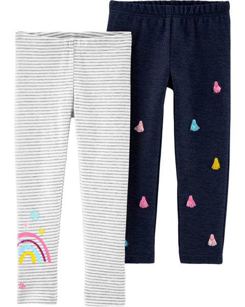 CARTER'S - 2 Pack Rainbow Leggings, Toddler Girl
