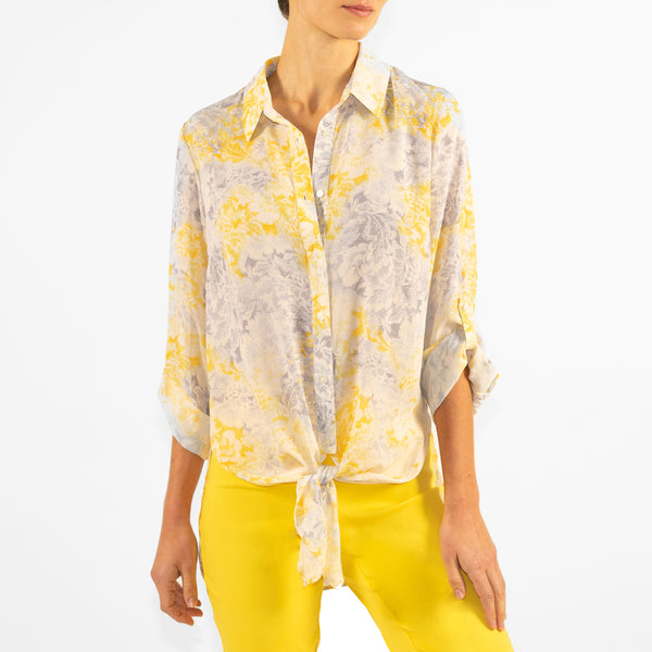 EMALINE - Printed Roll Tab Sleeve Tie Front Blouse - Yellow
