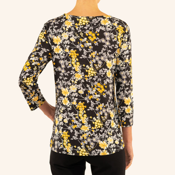 EMALINE - Garden Print Knit Top - Black