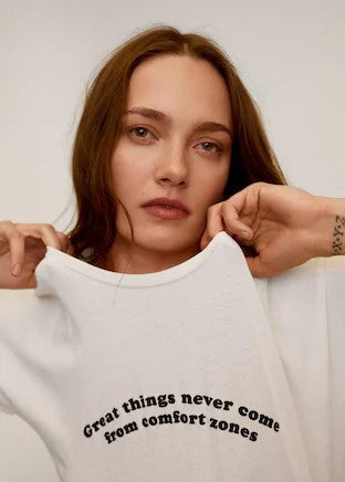 MANGO - Message Organic Cotton T-Shirt - Off White