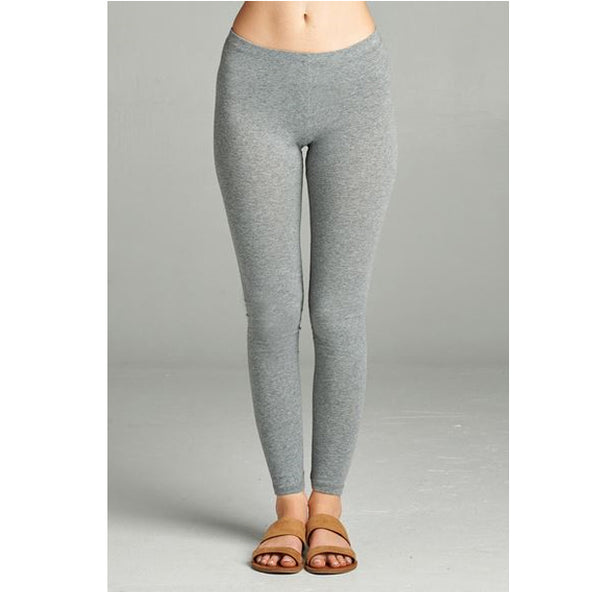 ACTIVE BASIC -  Basic Full-Length Cotton Spandex Leggings