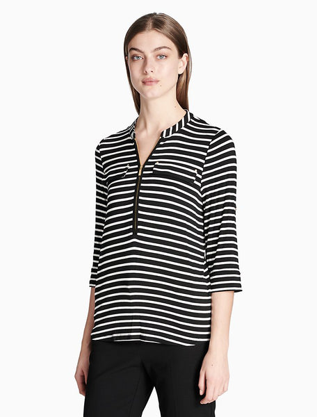 CALVIN KLEIN - Striped Zip Front Roll Sleeve Knit Top