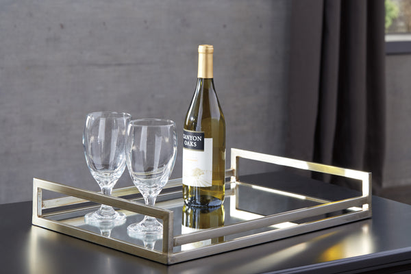 ASHLEY FURNITURE - Derex Mirrored Glass Tray