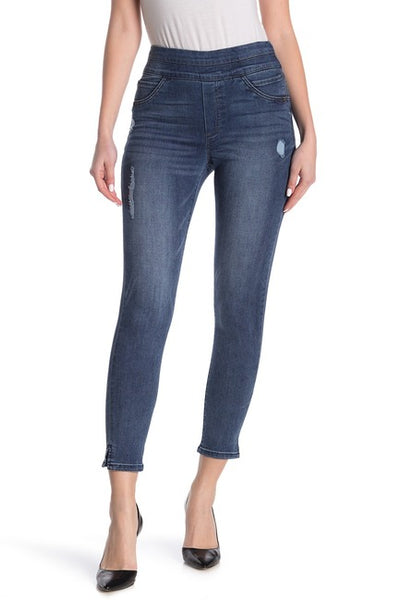 DEMOCRACY- Women's High Rise Pull On Ankle Slit Jeans