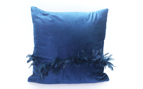 MAISON LUXE - Velvet Decorative Pillow with Feather Detail -Navy